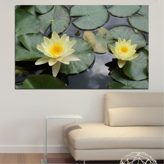 Canvas prints & wall decorative panels - 1 piece №0550 » Green, Black, Gray, Beige, Dark grey » Flowers, Water, Water lily Form #1