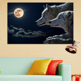Animal, Night, Moon, Wolf » Black, Gray, White, Beige, Dark grey
