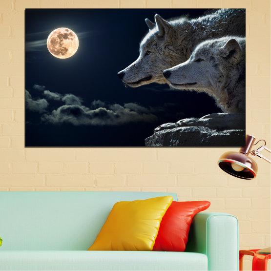 Декоративни панели и картини от канава - от 1 част №0551 » Черен, Сив, Бял, Бежов, Тъмно сив » Животни, Нощ, Луна, Вълк Form #1