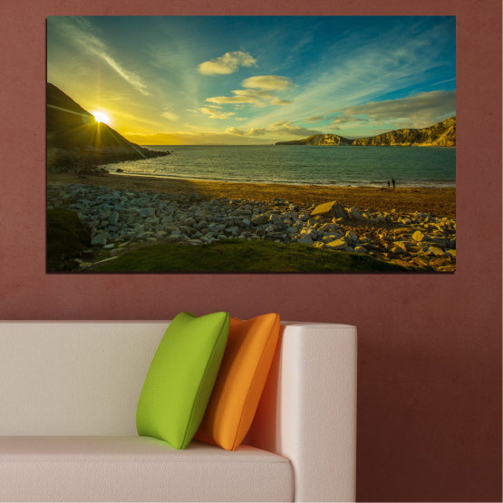 Canvas prints & wall decorative panels - 1 piece №0553 » Brown, Black, Gray, Dark grey » Water, Sea, Beach, Sun, Sunrise, Sky, Seaside Form #1