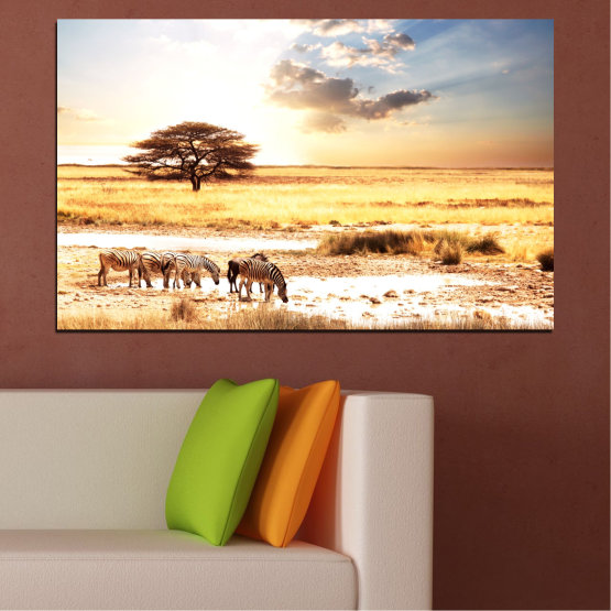 Canvas prints & wall decorative panels - 1 piece №0554 » Yellow, Orange, Gray, White, Beige » Animal, Africa, Zebra Form #1