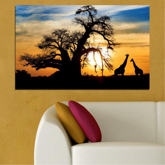 Декоративни панели и картини от канава - от 1 част №0555 » Жълт, Оранжев, Черен, Сив, Бежов » Залез, Дърво, Африка, Сянка Form #1