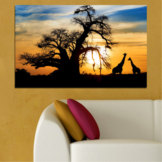 Canvas prints & wall decorative panels - 1 piece №0555 » Yellow, Orange, Black, Gray, Beige » Sunset, Tree, Africa, Shadow Form #1
