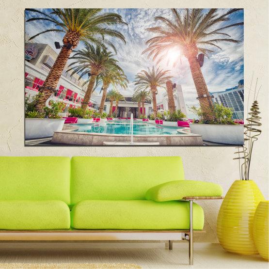 Декоративни панели и картини от канава - от 1 част №0558 » Кафяв, Сив, Тъмно сив » Слънце, Вода, Дърво, Хотел Form #1