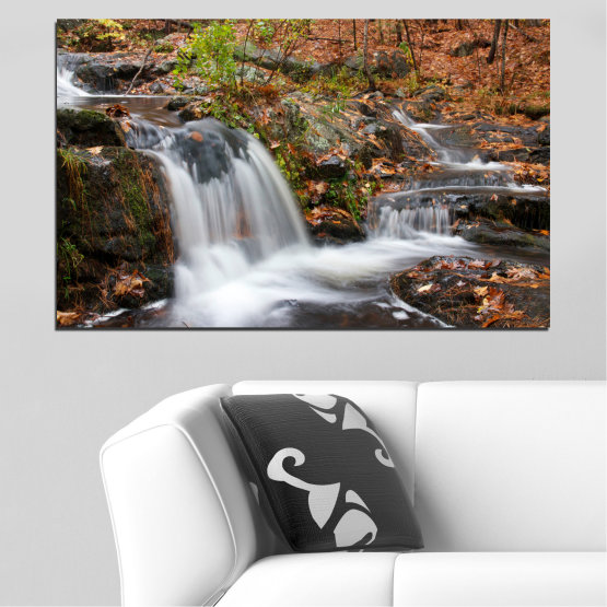 Canvas prints & wall decorative panels - 1 piece №0559 » Brown, Black, Gray, Dark grey » Landscape, Nature, Waterfall, Water, Autumn Form #1