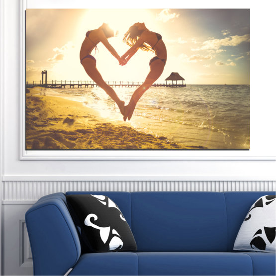 Canvas prints & wall decorative panels - 1 piece №0560 » Orange, Brown, Gray, White, Beige » Water, Sea, Woman, Beach, Summer, Heart Form #1