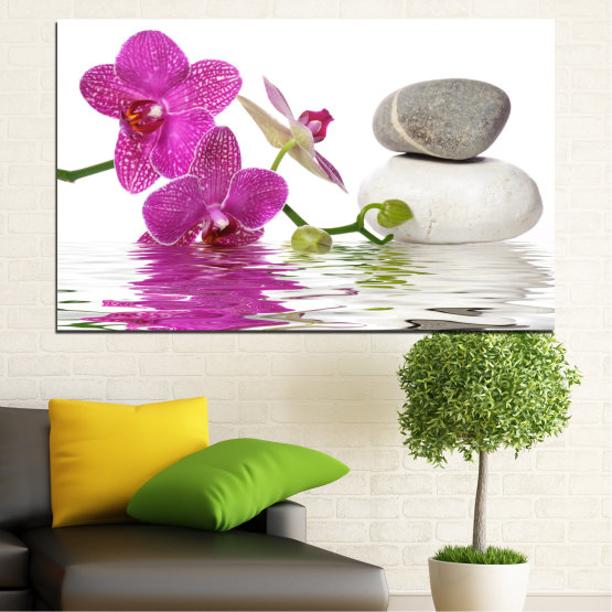 Canvas prints & wall decorative panels - 1 piece №0561 » Pink, Purple, Gray, White » Flowers, Feng shui, Orchid, Water, Zen, Stones, Spa Form #1