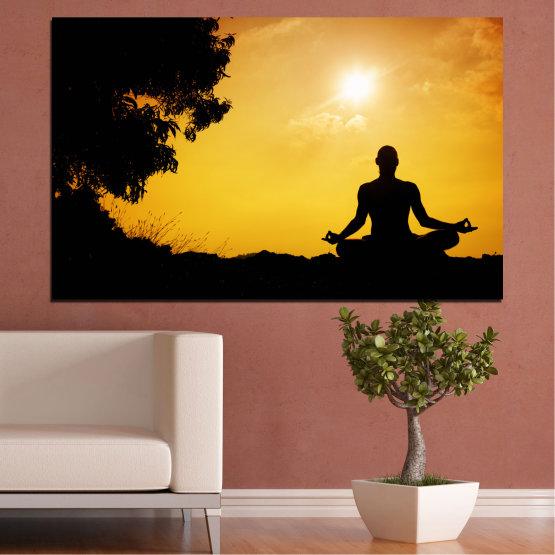 Декоративни панели и картини от канава - от 1 част №0563 » Зелен, Жълт, Оранжев, Черен » Слънце, Спа, Сянка, Йога Form #1