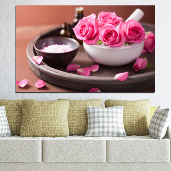 Canvas prints & wall decorative panels - 1 piece №0564 » Pink, Brown, Black, Gray, Dark grey » Flowers, Feng shui, Rose, Spa Form #1
