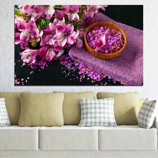 Canvas prints & wall decorative panels - 1 piece №0565 » Purple, Black, Gray, Milky pink, Dark grey » Flowers, Feng shui, Spa Form #1
