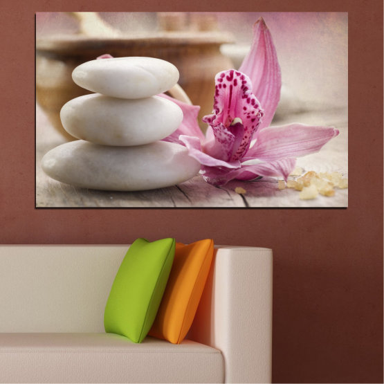 Canvas prints & wall decorative panels - 1 piece №0567 » Brown, Gray, Beige, Dark grey » Flowers, Feng shui, Orchid, Stones, Zen, Spa Form #1