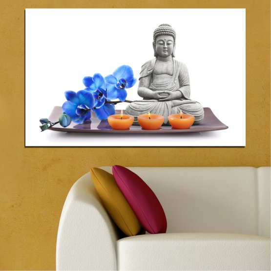 Canvas prints & wall decorative panels - 1 piece №0568 » Blue, Gray, White, Dark grey » Feng shui, Orchid, Spa, Candle, Buddha Form #1