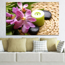 Orchid, Feng shui, Flowers, Stones, Zen, Spa, Candle » Brown, Black, Gray, White, Beige