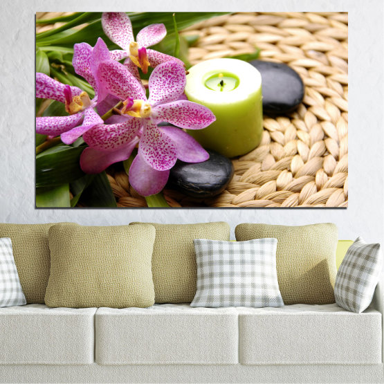 Canvas prints & wall decorative panels - 1 piece №0570 » Brown, Black, Gray, White, Beige » Flowers, Feng shui, Orchid, Zen, Stones, Spa, Candle Form #1