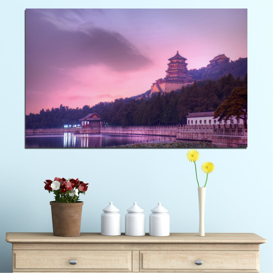 Canvas prints & wall decorative panels - 1 piece №0571 » Purple, Gray, Milky pink, Dark grey » Landscape, Water, Thailand, Buddha, Temple Form #1
