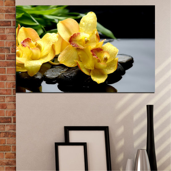 Canvas prints & wall decorative panels - 1 piece №0572 » Green, Yellow, Black, Gray » Flowers, Orchid, Water, Stones, Zen, Spa Form #1