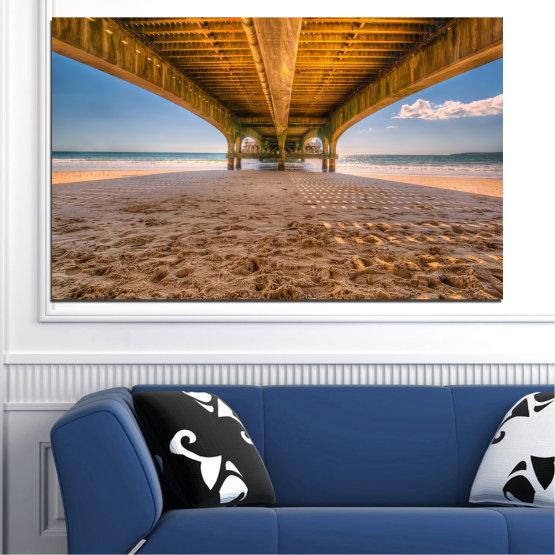 Canvas prints & wall decorative panels - 1 piece №0573 » Orange, Brown, Gray, Beige » Water, Beach, Sand, Bridge Form #1