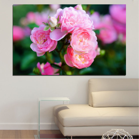 Canvas prints & wall decorative panels - 1 piece №0576 » Pink, Green, Black, Milky pink, Dark grey » Flowers, Garden, Rose Form #1