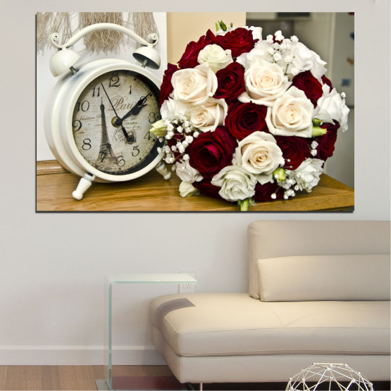 Canvas prints & wall decorative panels - 1 piece №0577 » Brown, Gray, White, Beige » Flowers, Rose, Bouquet, Paris, Watch Form #1