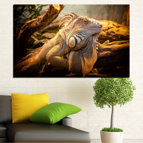 Canvas prints & wall decorative panels - 1 piece №0580 » Brown, Black, Gray, Beige » Animal, Reptile, Guana Form #1