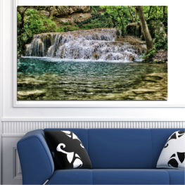 Landscape, Nature, Waterfall, Water » Green, Brown, Black, Gray, Dark grey