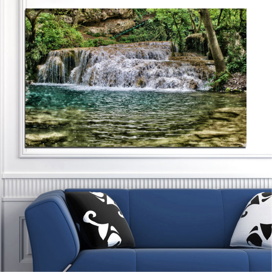 Canvas prints & wall decorative panels - 1 piece №0581 » Green, Brown, Black, Gray, Dark grey » Water, Nature, Landscape, Waterfall Form #1