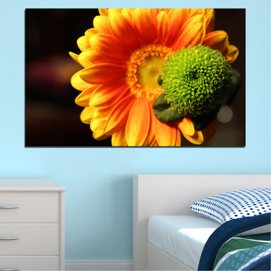 Canvas prints & wall decorative panels - 1 piece №0583 » Red, Yellow, Orange, Black » Flowers, Collage, Gerbera Form #1