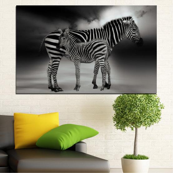 Canvas prints & wall decorative panels - 1 piece №0587 » Brown, Black, Gray, Dark grey » Animal, Collage, Portrait, Zebra Form #1