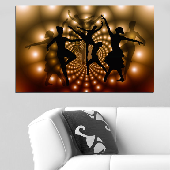Canvas prints & wall decorative panels - 1 piece №0589 » Red, Brown, Black, Beige » Abstraction, Lights, Dance, Ballet Form #1