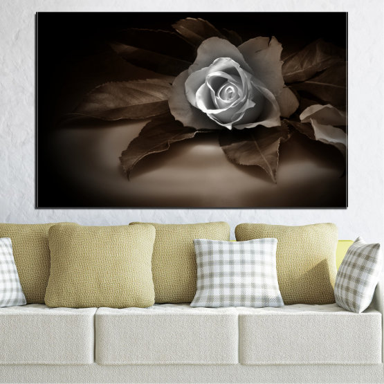Canvas prints & wall decorative panels - 1 piece №0590 » Brown, Black, Gray, Dark grey » Flowers, Rose, Retro Form #1