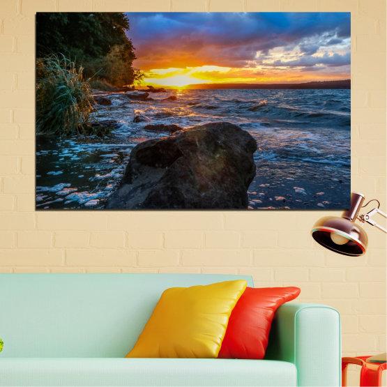 Canvas prints & wall decorative panels - 1 piece №0591 » Purple, Blue, Black, Gray, Dark grey » Nature, Sea, Landscape, Sunset, Bay, Rocks Form #1