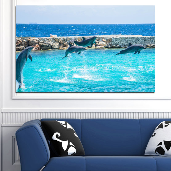 Canvas prints & wall decorative panels - 1 piece №0592 » Blue, Turquoise, Gray, Dark grey » Animal, Sea, Water, Dolphin, Fish Form #1