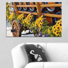 Flowers, Sunflower, Wagon » Orange, Brown, Black, Dark grey