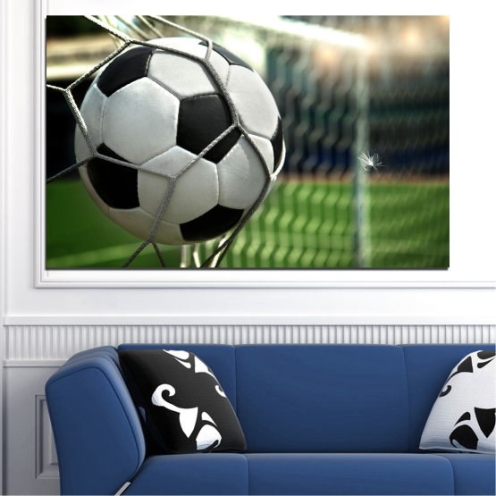 Canvas prints & wall decorative panels - 1 piece №0596 » Green, Black, Gray, White, Dark grey » Soccer, Sport, Ball Form #1