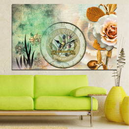 Flowers, Collage, Watch » Brown, Gray, Beige, Dark grey
