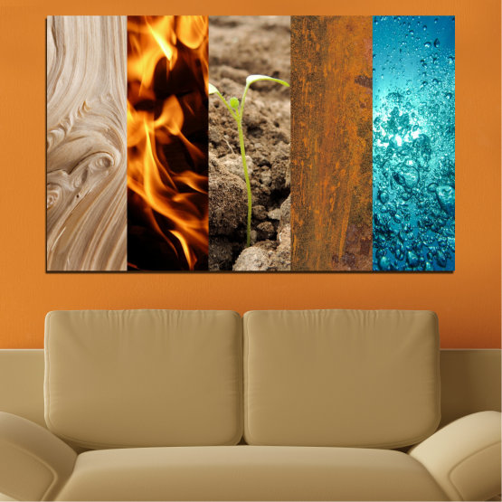 Canvas prints & wall decorative panels - 1 piece №0598 » Brown, Black, Gray, Beige » Water, Fire, Element Form #1