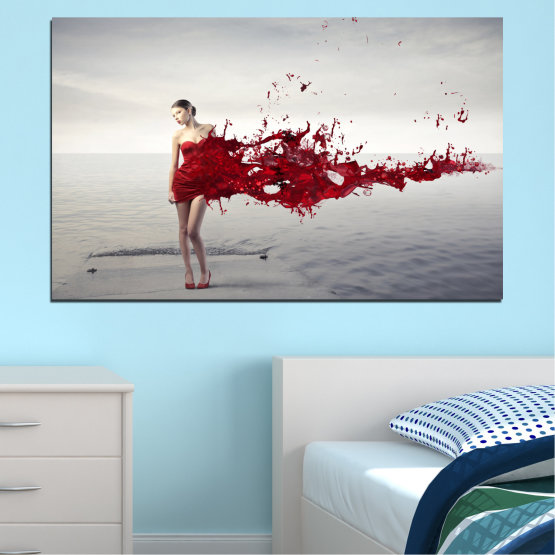 Canvas prints & wall decorative panels - 1 piece №0599 » Red, Gray, White, Dark grey » Woman, Collage, Fashion Form #1