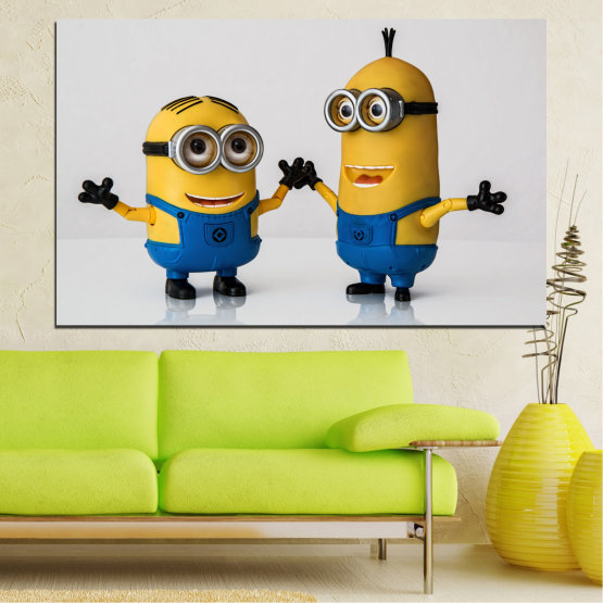 Canvas prints & wall decorative panels - 1 piece №0601 » Blue, Yellow, Black, Gray, Dark grey » Children, Animated, Minions Form #1