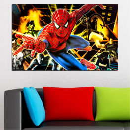 Children, Marvel, Cartoon, Spiderman » Red, Brown, Black, Beige, Dark grey