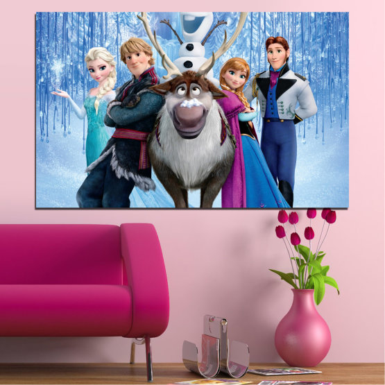 Canvas prints & wall decorative panels - 1 piece №0607 » Turquoise, Black, Gray, Dark grey » Children, Animated, Frozen kingdom, Disney Form #1