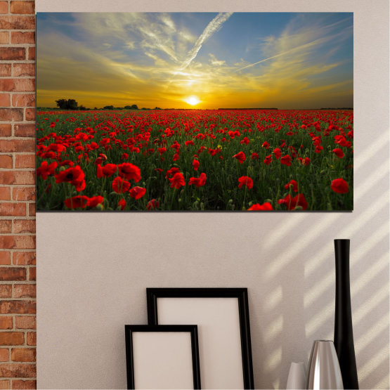 Canvas prints & wall decorative panels - 1 piece №0609 » Red, Green, Brown, Black, Gray » Flowers, Sun, Poppy, Field Form #1