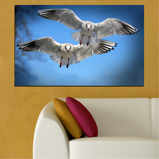 Canvas prints & wall decorative panels - 1 piece №0610 » Blue, Turquoise, Gray, Dark grey » Sky, Birds, Seagull Form #1