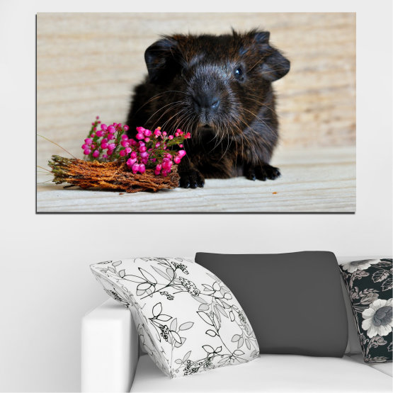 Canvas prints & wall decorative panels - 1 piece №0611 » Black, Gray, Beige, Dark grey » Animal, Portrait, Hamster Form #1