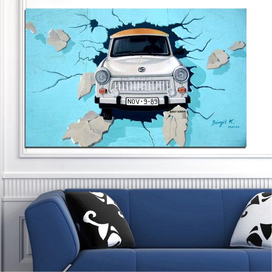 Декоративни панели и картини от канава - от 1 част №0612 » Тюркоаз, Черен, Сив, Тъмно сив » Колаж, Кола, Превозно средство Form #1
