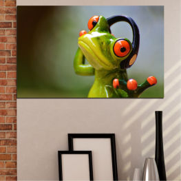 Animal, Collage, Frog » Green, Brown, Black, Gray