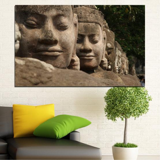 Εκτύπωση σε καμβά και διακοσμητικά πάνελ τοίχου - 1 τεμάχιο №0617 » Καστανός, Μαύρος, Γκρί, Σκούρο γκρι » Feng shui, Βούδας, Άγαλμα Form #1
