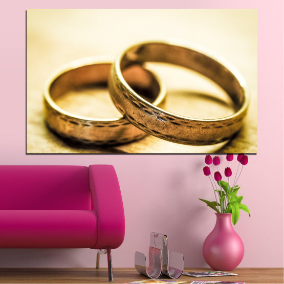 Canvas prints & wall decorative panels - 1 piece №0618 » Orange, Brown, White, Beige » Wedding, Symbol, Ring Form #1