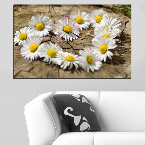 Canvas prints & wall decorative panels - 1 piece №0619 » Brown, Gray, White » Flowers, Daisy, Heart Form #1
