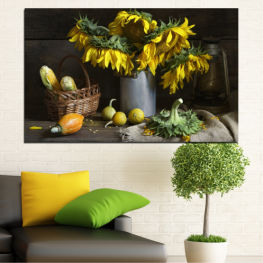 Flowers, Culinary, Sunflower, Still life » Brown, Black, Gray, Dark grey