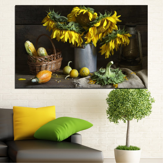 Canvas prints & wall decorative panels - 1 piece №0620 » Brown, Black, Gray, Dark grey » Flowers, Culinary, Still life, Sunflower Form #1
